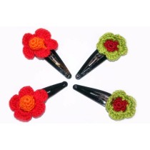 Crochet Hair Clips: Set of 4 Colorful Pairs