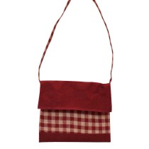 Maroon Checkered Print Bag by Prison Inmates