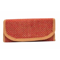 Brick Red Beige Textured Jute Wallet