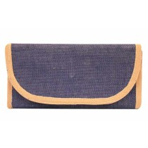 Blue Beige Easy To Carry Jute Wallet