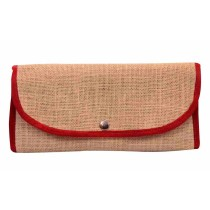Beige Red Jute Hand Wallet