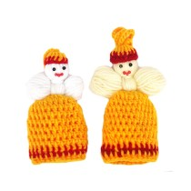 Hand Knitted Cream And Yellow Woolen Dolls