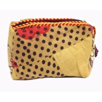 Handcrafted Beige Polka Dots Cloth All Purpose Pouch by Disadvantaged Women in Rural Faridabad