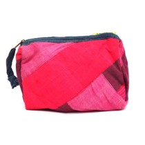 Handcrafted Pink-Red Cloth All Purpose Pouch by Disadvantaged Women in Rural Faridabad