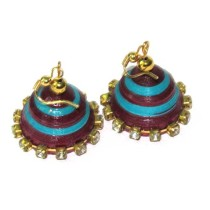 Handcrafted Purple-Blue Ethnic Jhumka Earrings by Acid Attack Survivors