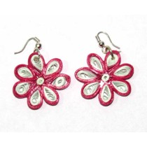 Handcrafted Pink-White Floral Paper Quilling Earrings by Acid Attack Survivors