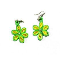 Handcrafted Yellow-Green Floral Paper Quilling Earrings by Acid Attack Survivors
