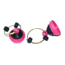 Black And Hot Pink Paper Quilled Jhumka Earring