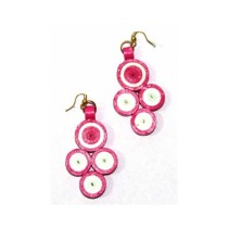 Cute Pink White Paper Quilled Earring