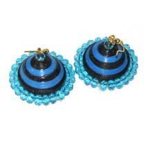 Blue Paper Quilled With Beads Jhumka Earrings