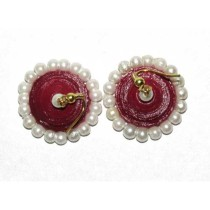 Maroon Paper Quilled With Pearls Jhumka Earring