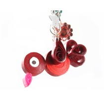 Red Bird Key Chain in Quilling