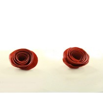 Handmade Quilling Red Rose Shape Stud Earrings by Women SHGs