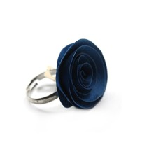 Deep Blue Rose Ring in Quilling Design