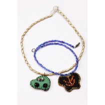 Handcrafted Silver & Blue Beads Pendants Combo by Marginalized Women