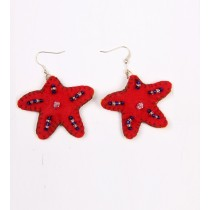 Quirky Handcrafted Red Thread Work Star Earrings by Marginalized Women