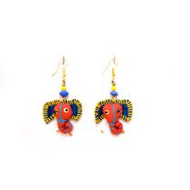 Cute Handcrafted Orange Elephant Thread Work Earrings by Marginalized Women
