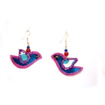 Cute Handcrafted Blue-Purple Bird Thread Work Earrings by Marginalized Women