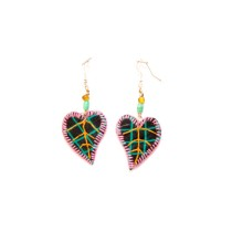 Handcrafted Black-Orange Heart Thread Work Earrings by Marginalized Women