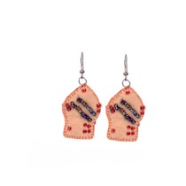 Funky Handcrafted Peach Thread Work Beads Earrings by Marginalized Women