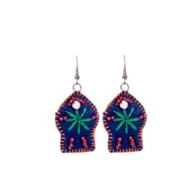 Handcrafted Dark Blue Thread Work Beads Earrings by Marginalized Women