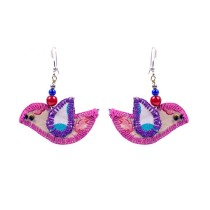 Cute Handcrafted Pink-Purple Bird Thread Work Earrings by Marginalized Women