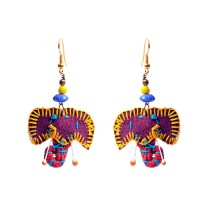 Quirky Handcrafted Purple Elephant Thread Work Earrings by Marginalized Women