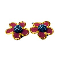 Handcrafted Maroon Thread Work Flower Hair Clips Combo by Marginalized Women