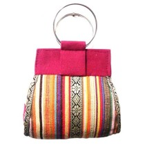 Multicoloured Striped Jute Bag By Rural Migrant People:
