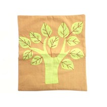 Handmade Beige-Green Tree Appliqué Work Cushion Cover by Trafficking Survivors