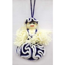 Hand Knitted Blue White Wool Doll Wall Hanging By Trafficking Survivors