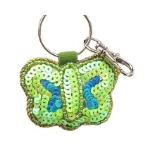 Green Butterfly Sequins Keychain