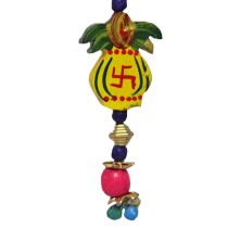 Handmade Swastika Kalash Wooden Beads Keychain by Adults with Autism