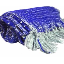 Navy Blue And White Hand Knitted Muffler