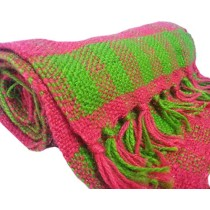Pink And Green Hand Knitted Mufflers