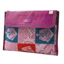 Trendy Pink Leather Ipad Bag by Tribals from Gujarat