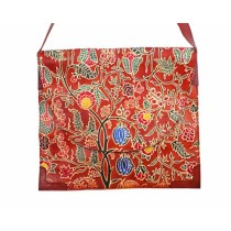 Unique Red Floral Leather Ipad Sling Bag