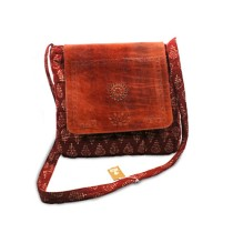 Brown Leather-Silk Ipad Sling Bag