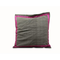 Grey Cushion Cover with Original Phulkari Embroidery