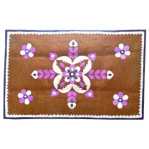 Handcrafted Brown-Purple Floral Rectangular Floor Mat by Manual Scavengers