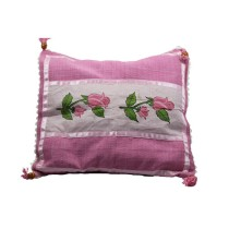 Handmade Pink Rose Print Cotton Cushion Cover by Disadvantaged Women