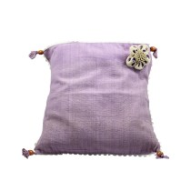 Handmade Purple Floral Cotton Cushion by Disadvantaged Women