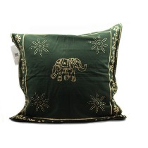 Dark Green Elephant Printed Cushion Cover