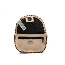 Cream Brown Pure Leather Coin Purse