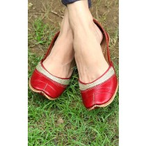 Ethnic Handmade Red Plain Pure Leather Jutti by Women Self Help Groups