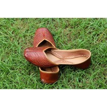 Handmade Tan Perforated Leather Ethnic Jutti by Women Self Help Groups