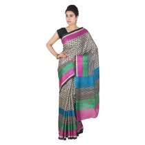Handmade Black And Beige Tussar Silk Saree by Weavers of Bihar