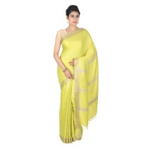 Handmade Yellow Eri Tussar Silk Basket Weave Saree by Weavers of Bihar
