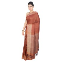 Handmade Brown Eri Desi Tussar Silk Saree by Weavers of Bihar