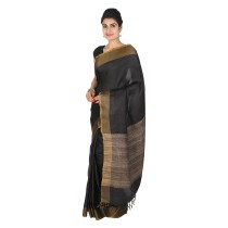 Handmade Black Eri Tussar Silk Saree by Weavers of Bihar